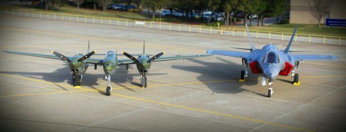 A P-38F Lightning and F-35 Lightning II displayed together