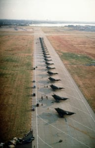 F-117A Nighthawk stealth fighter aircraft from the 37th Tactical Fighter Wing, Tonopah Test Range, Nev., line the runway during Operation Desert Shield. (U.S. Air Force Photo)