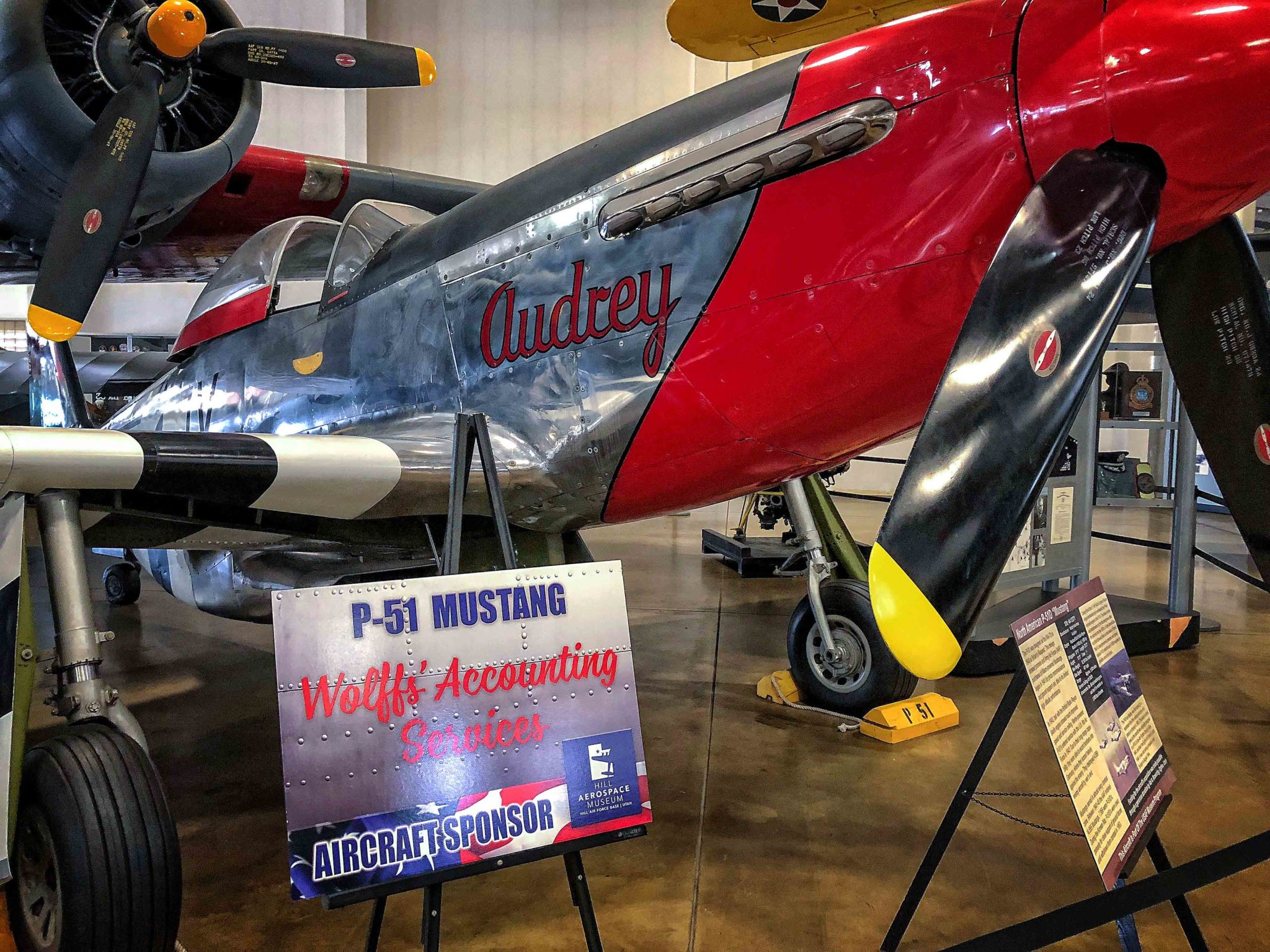 Sponsored North American P-51 Mustang at Hill Aerospace Museum