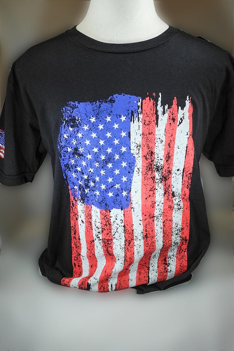 American Flag T-Shirt Black RWB
