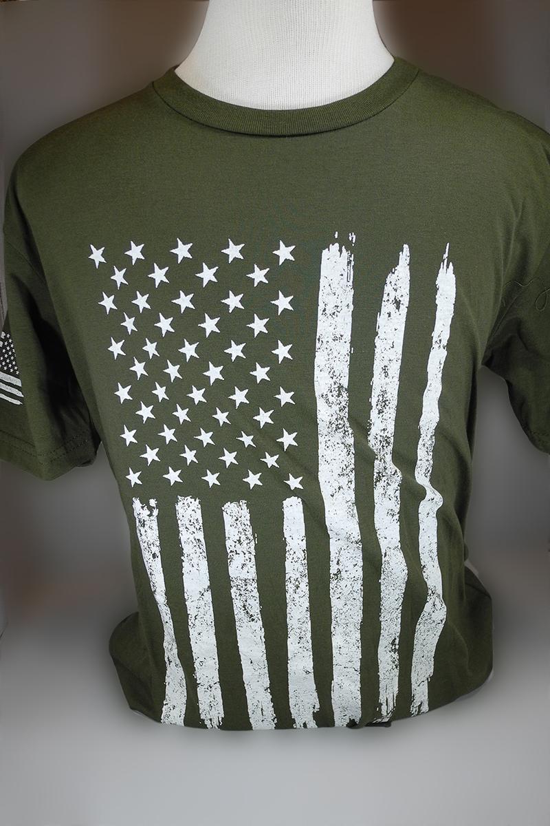 American Flag T-Shirt Green Dk