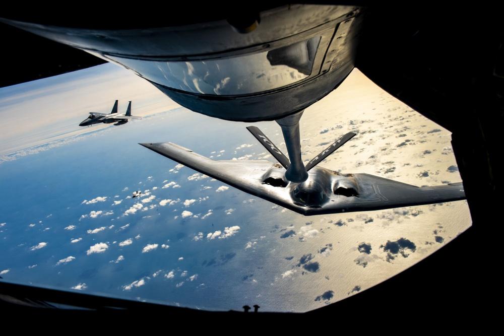B-2 Spirit Stealth Bomber refuels with KC-135 Stratotanker