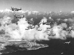 P-51 Mustangs over Iwo Jima