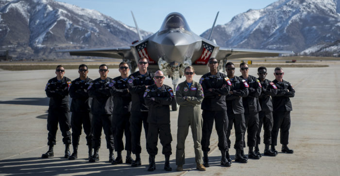 F-35A Lightning II Demo team pose in front of F-35 at Hill AFB, Utah