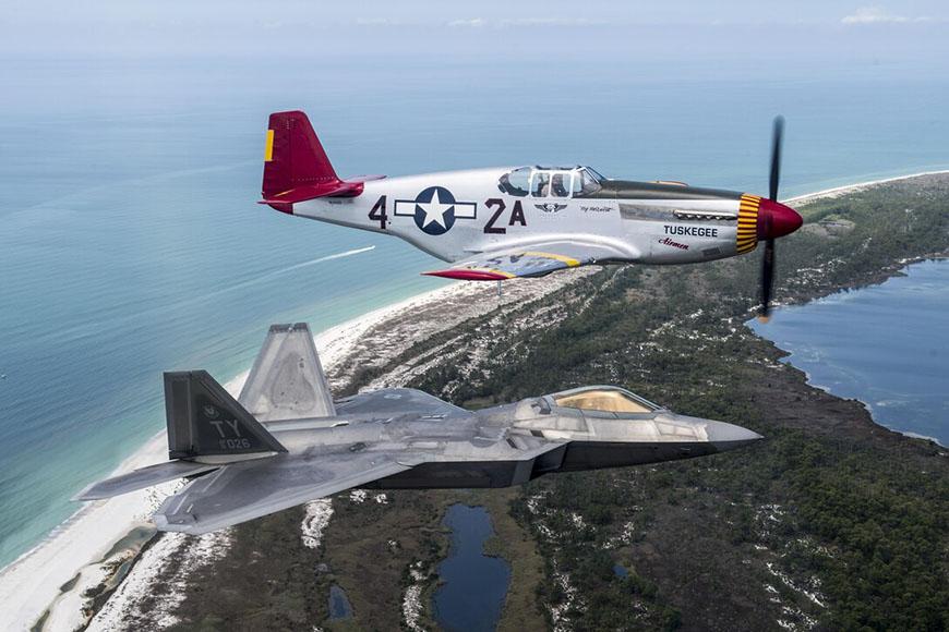 F-22 Raptor flies with P-51 Mustang