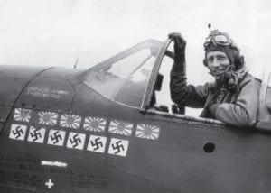 James H. Howard in his P-51 Mustang