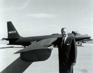 """Clarence L. """"Kelly"""" Johnson, chief designer at Lockheed Martin's Skunk Works"""" facility, initially designed the U-2 around the F-104 Starfighter fuselage. (U.S. Air Force photo)"""