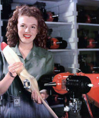 Marilyn Monroe working at Radioplane Factory during WWII.