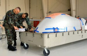 MQ-1 Predator Drone UAV in coffin