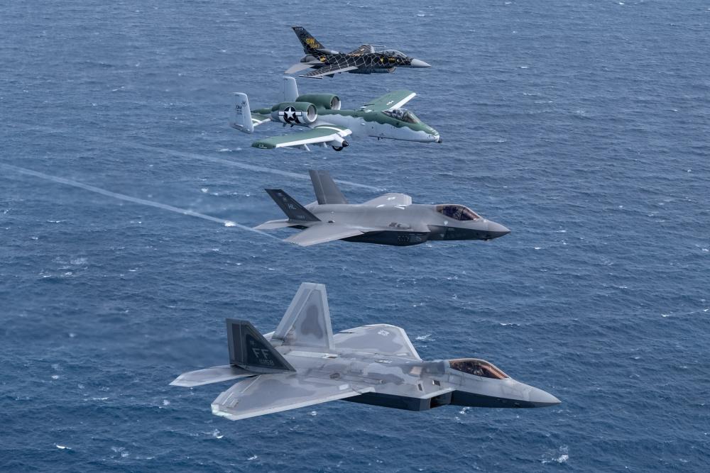 F-22 Raptor, F-35 Lightning II, A-10 Thunderbolt, & F-16 Falcon Fly Together