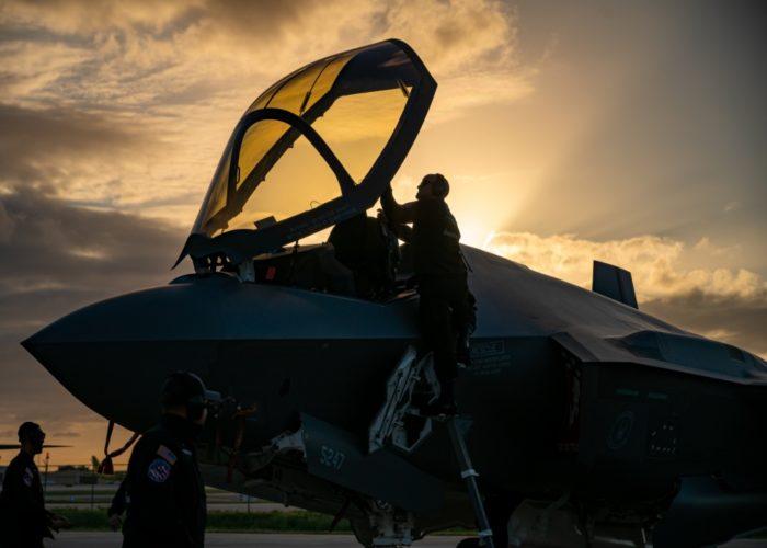 F-35 Lightning II at sunset